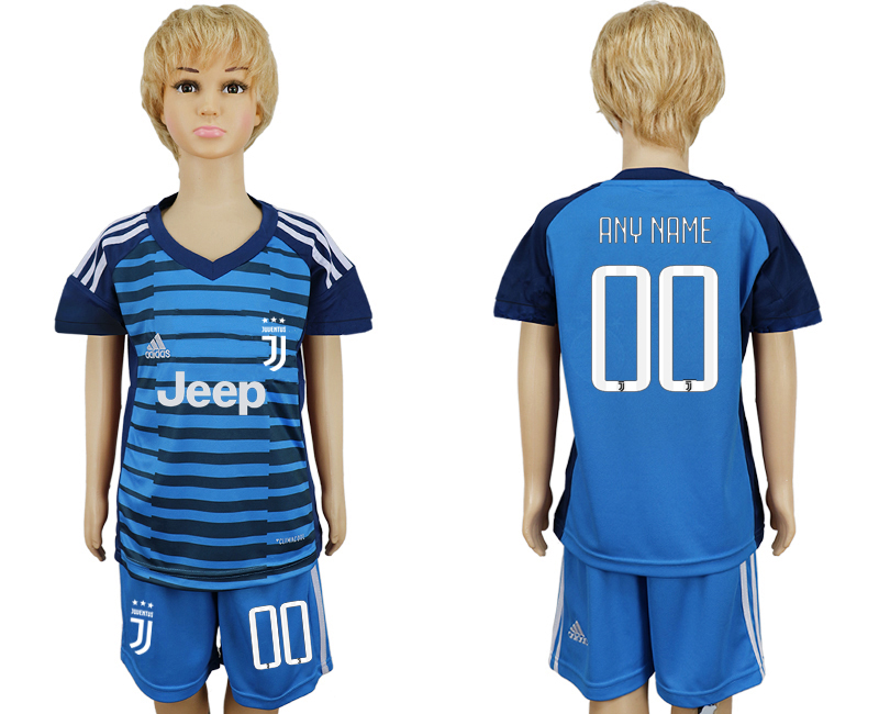 2017-2018 club Juventus Lake blue kids goalkeeper customized soccer jersey