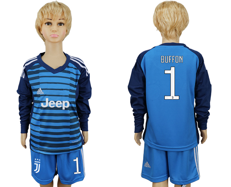 2017-2018 club Juventus Lake blue kids goalkeeper long sleeve 1 soccer jersey