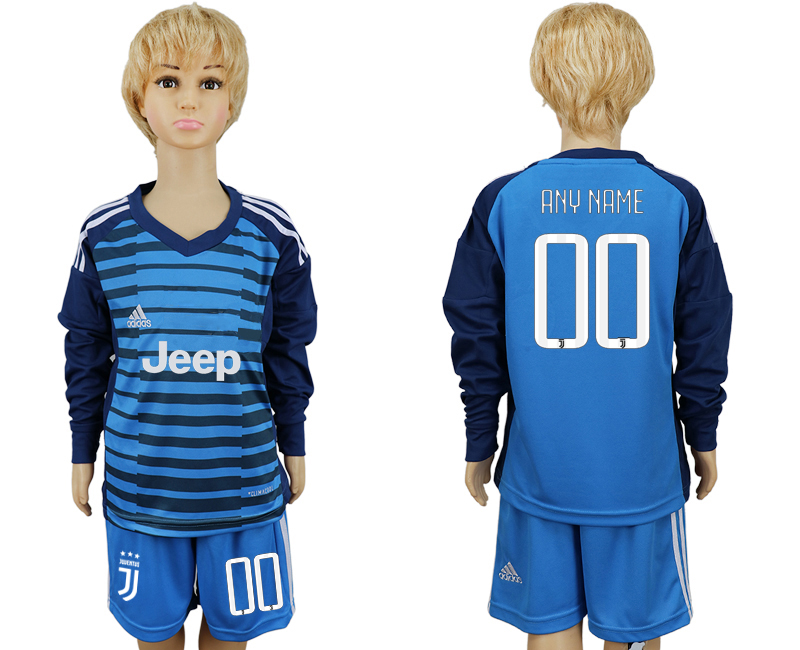2017-2018 club Juventus Lake blue kids goalkeeper long sleeve customized soccer jersey