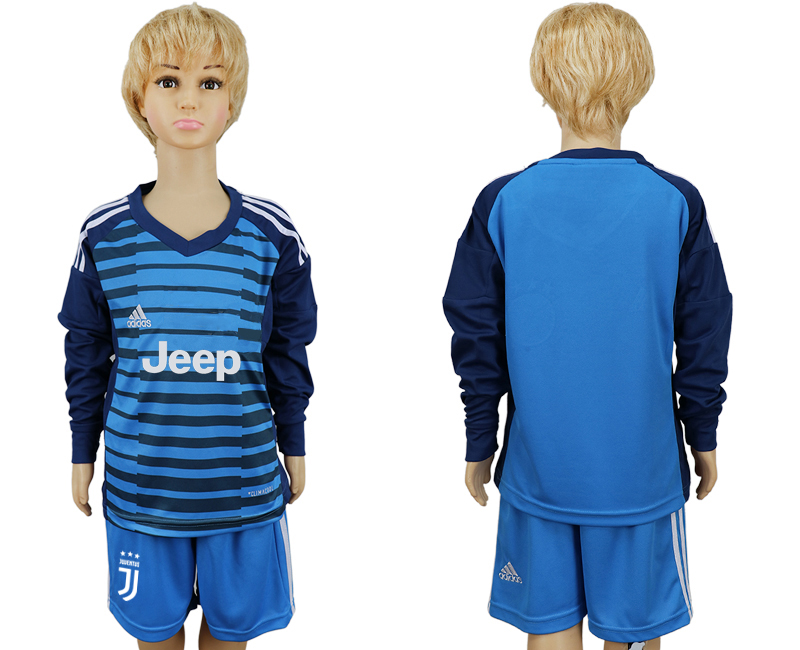 2017-2018 club Juventus Lake blue kids goalkeeper long sleeve soccer jersey