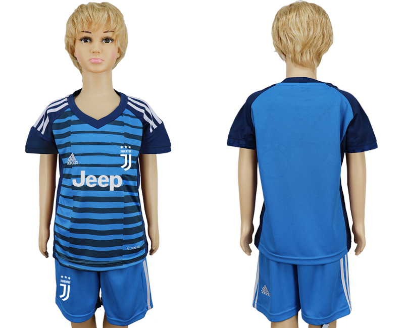 2017-2018 club Juventus Lake blue kids goalkeeper soccer jersey