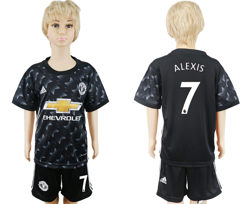 2017-2018 club Manchester United away black kids 7 soccer jersey