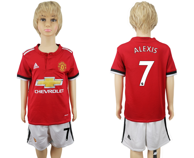 2017-2018 club Manchester United home kids 7 red soccer jersey