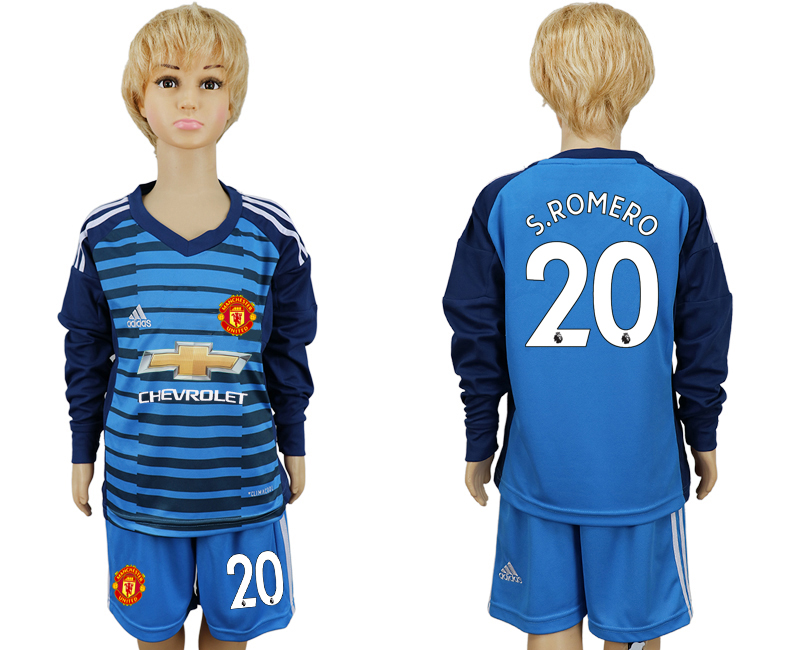 2017-2018 club Manchester united goalkeeper kids Long sleeve 20 soccer jersey