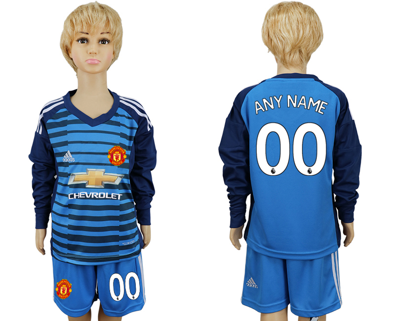 2017-2018 club Manchester united goalkeeper kids Long sleeve customized blue soccer jersey
