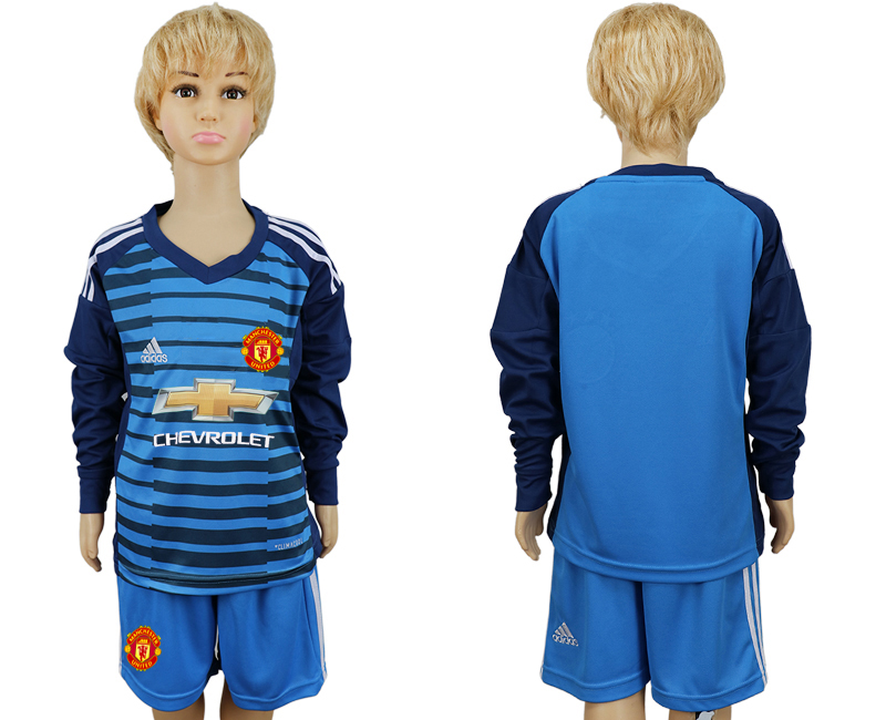 2017-2018 club Manchester united goalkeeper kids Long sleeve soccer jersey