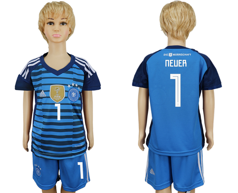 2018 World Cup National Germany goalkeeper kids 1 blue soccer jersey