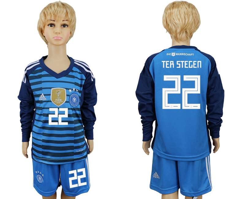 2018 World Cup National Germany goalkeeper kids Long sleeve 22 blue soccer jersey