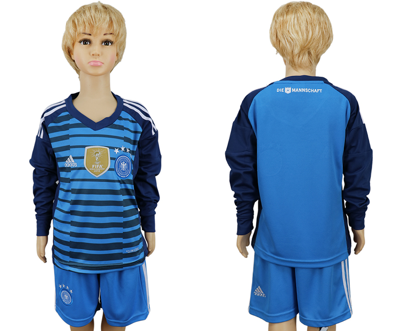 2018 World Cup National Germany goalkeeper kids Long sleeve blue soccer jersey