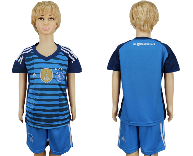 2018 World Cup National Germany goalkeeper kids blue soccer jersey