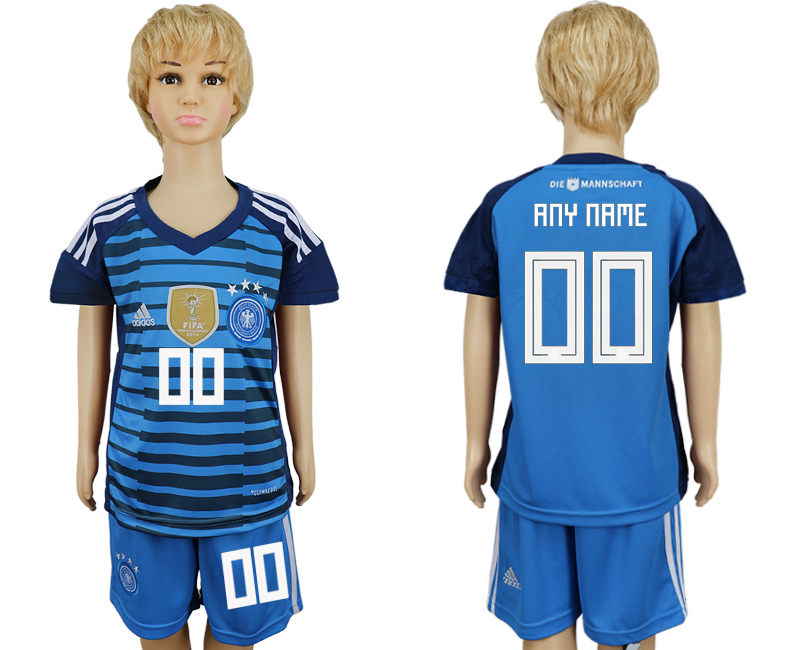 2018 World Cup National Germany goalkeeper kids customized blue soccer jersey