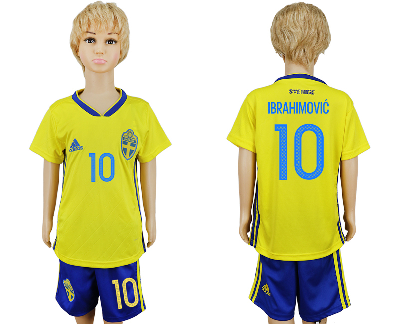 2018 World Cup National Swedish home kids 10 yellow soccer jersey