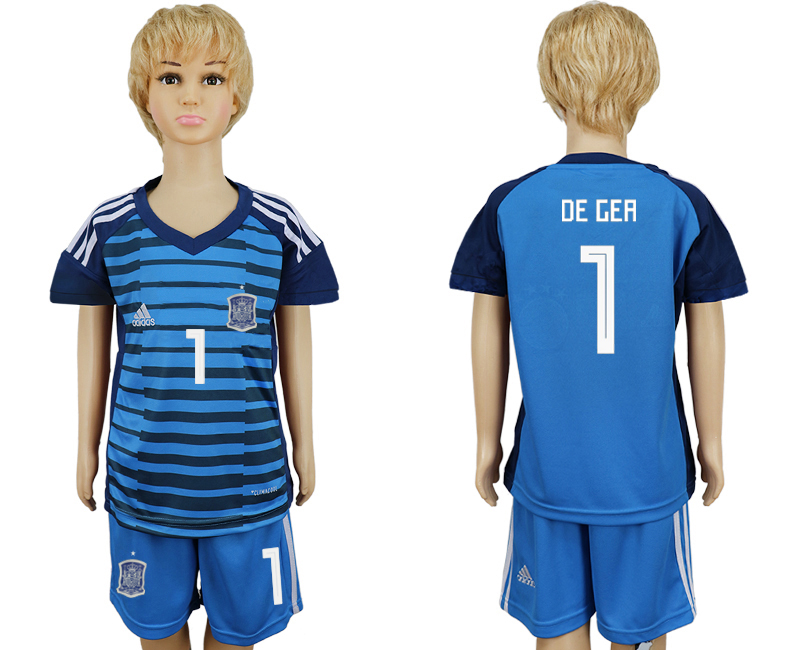 2018 World Cup Spain goalkeeper kids 1 blue soccer jersey1