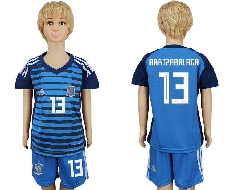 2018 World Cup Spain goalkeeper kids 13 blue soccer jersey