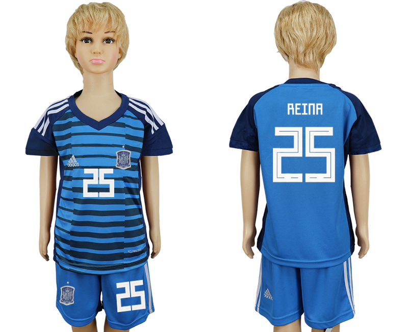 2018 World Cup Spain goalkeeper kids 25 blue soccer jersey