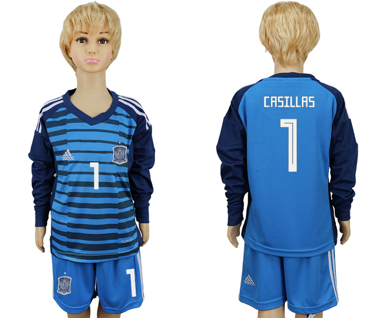 2018 World Cup Spain goalkeeper kids Long sleeve 1 blue soccer jersey1