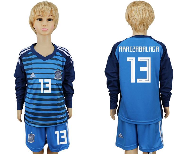 2018 World Cup Spain goalkeeper kids Long sleeve 13 blue soccer jersey
