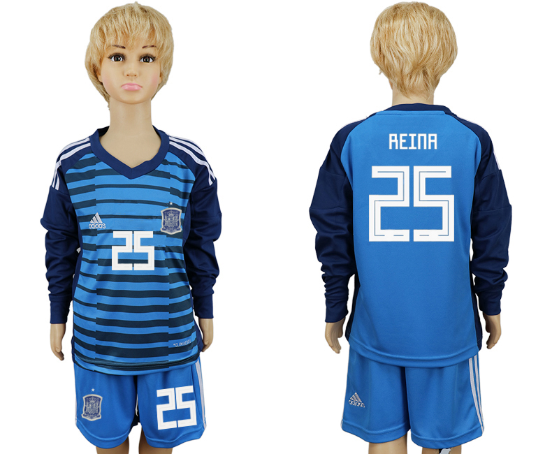 2018 World Cup Spain goalkeeper kids Long sleeve 25 blue soccer jersey
