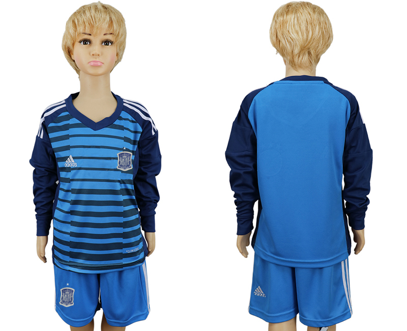 2018 World Cup Spain goalkeeper kids Long sleeve blue soccer jersey