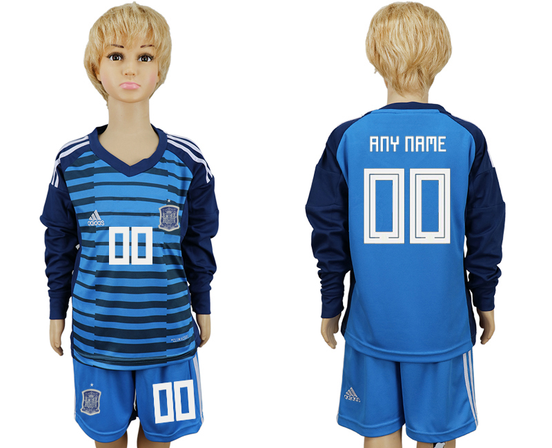 2018 World Cup Spain goalkeeper kids Long sleeve customized blue soccer jersey