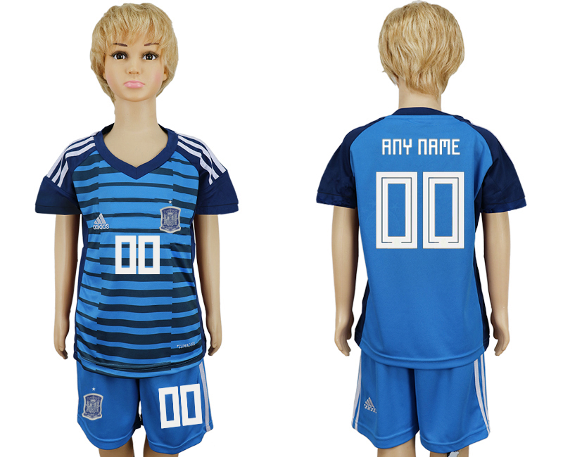 2018 World Cup Spain goalkeeper kids customized blue soccer jersey