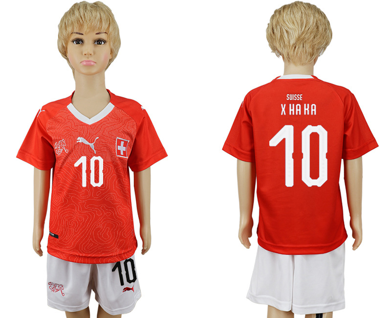 2018 World Cup Switzerland home kids 10 red soccer jersey