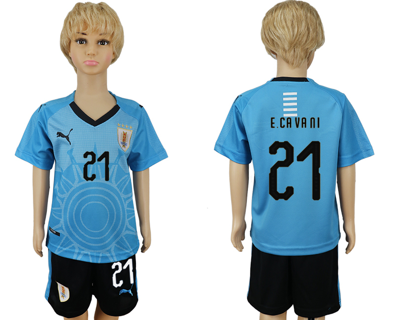 2018 World Cup Uruguay home kids 21 blue soccer jersey