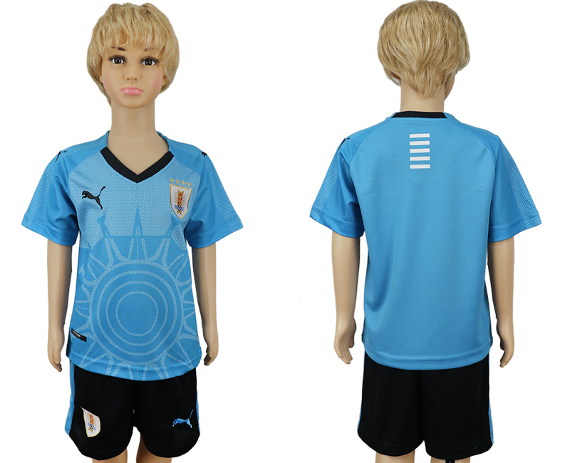 2018 World Cup Uruguay home kids blue soccer jersey