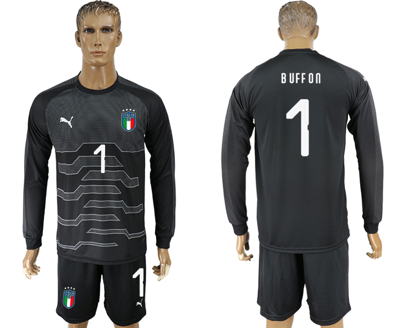 Men 2017-2018 National Italy black goalkeeper Long sleeve 1 soccer jersey