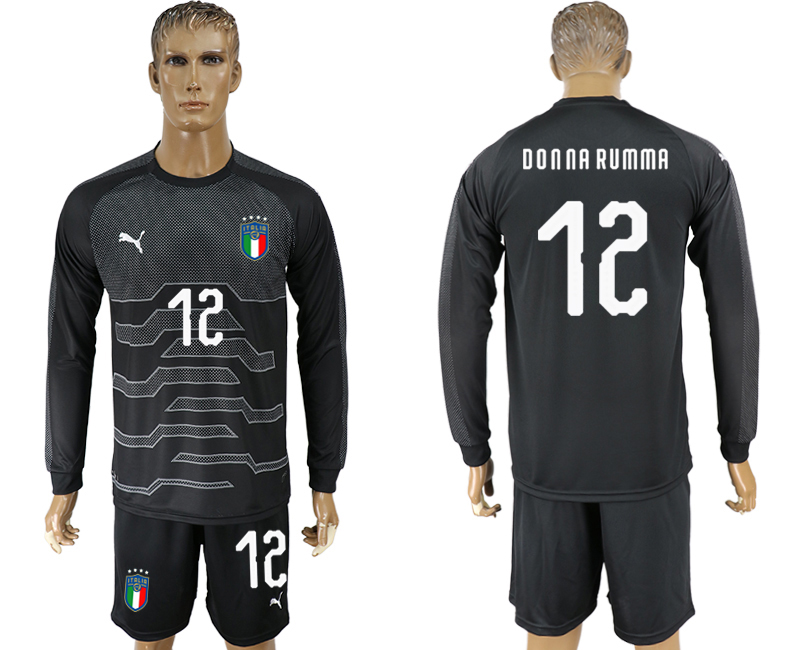 Men 2017-2018 National Italy black goalkeeper Long sleeve 12 soccer jersey