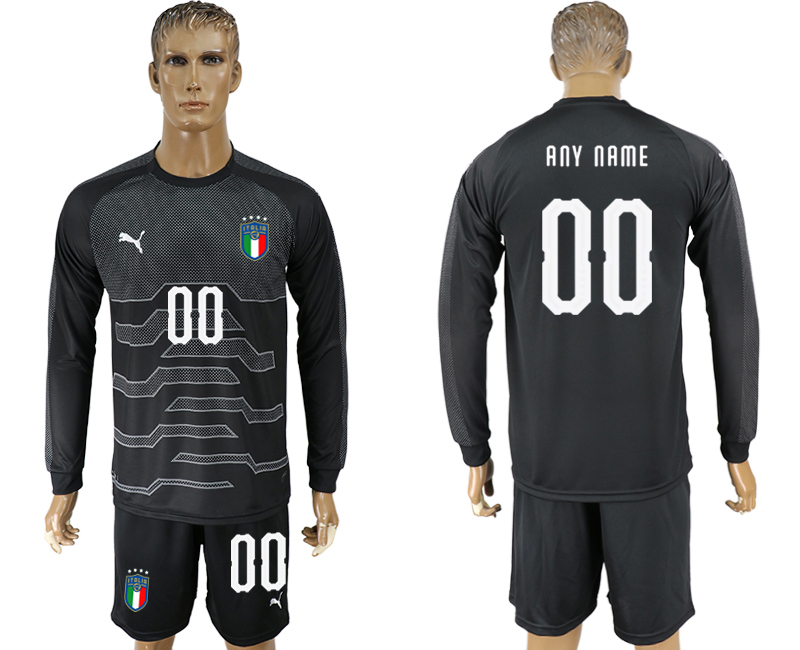 Men 2017-2018 National Italy black goalkeeper Long sleeve customized soccer jersey