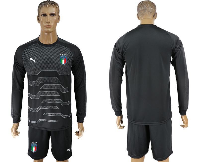 Men 2017-2018 National Italy black goalkeeper Long sleeve soccer jersey