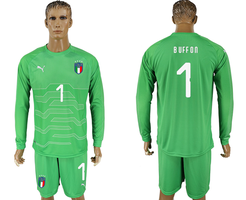 Men 2017-2018 National Italy green goalkeeper long sleeve 1 soccer jersey