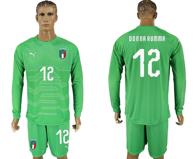 Men 2017-2018 National Italy green goalkeeper long sleeve 12 soccer jersey