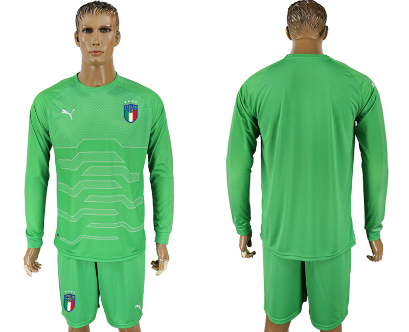 Men 2017-2018 National Italy green goalkeeper long sleeve soccer jersey