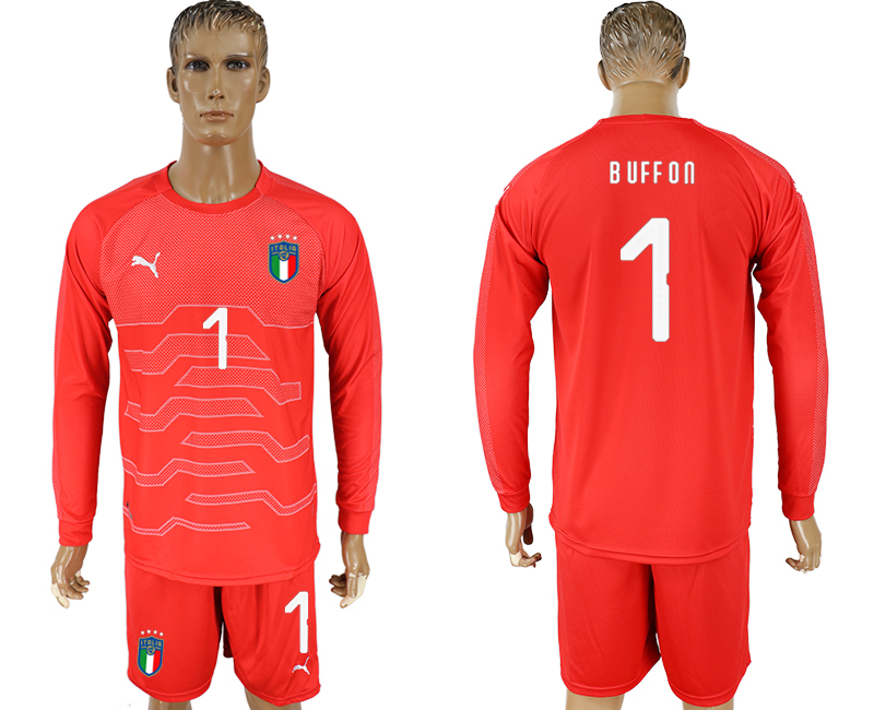 Men 2017-2018 National Italy red goalkeeper long sleeve 1 soccer jersey