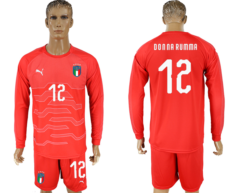 Men 2017-2018 National Italy red goalkeeper long sleeve 12 soccer jersey