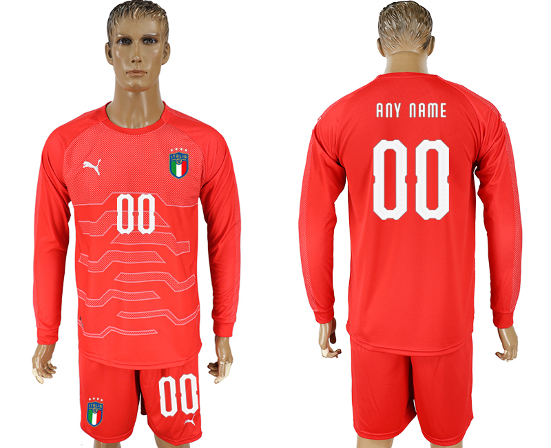 Men 2017-2018 National Italy red goalkeeper long sleeve customized soccer jersey