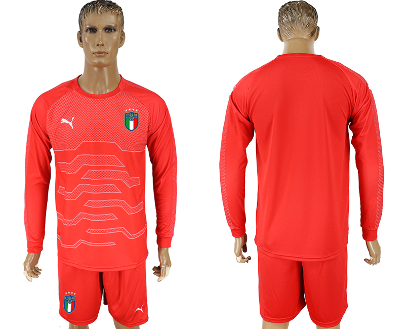 Men 2017-2018 National Italy red goalkeeper long sleeve soccer jersey