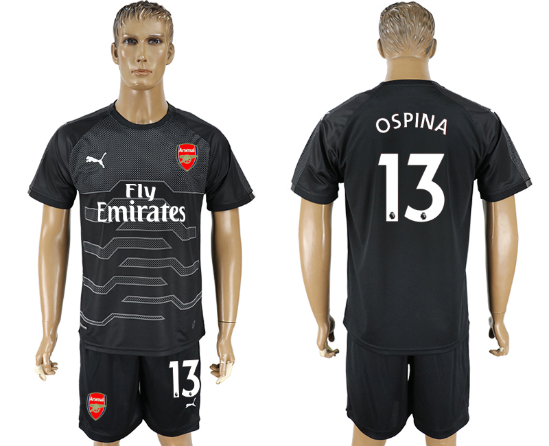 Men 2017-2018 club Arsenal black goalkeeper 13 soccer jersey