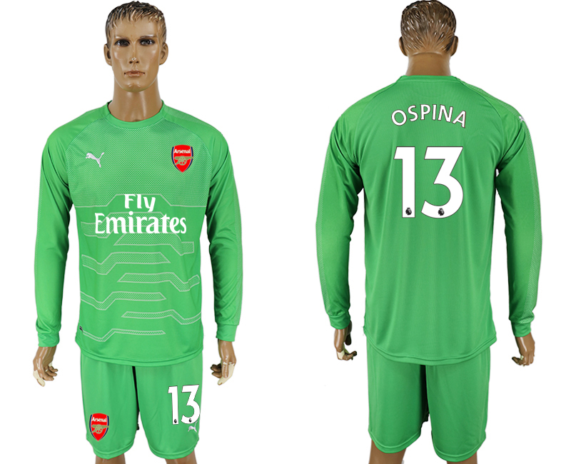 Men 2017-2018 club Arsenal green goalkeeper long sleeve 13 soccer jersey
