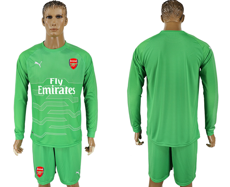 Men 2017-2018 club Arsenal green goalkeeper long sleeve soccer jersey