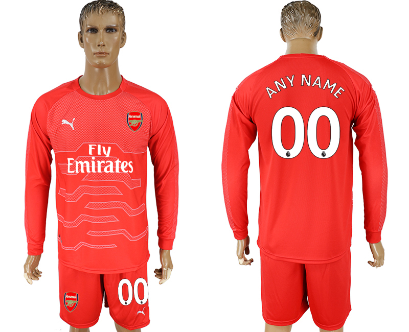 Men 2017-2018 club Arsenal red goalkeeper long sleeve customized soccer jersey