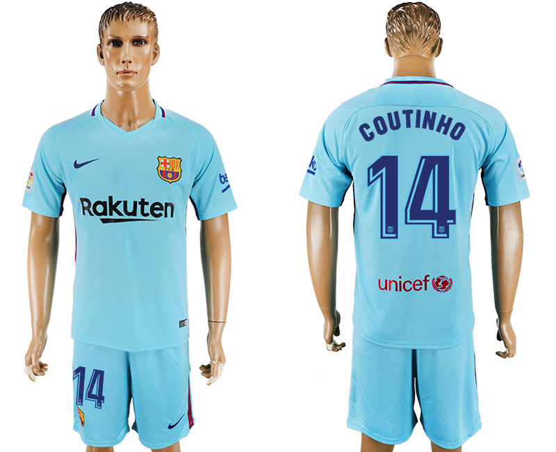 Men 2017-2018 club Barcelona away 14 Light blue soccer jersey