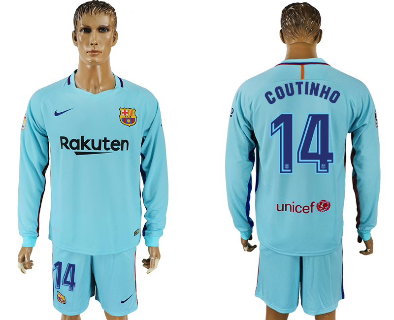 Men 2017-2018 club Barcelona away long sleeve 14 Light blue soccer jersey