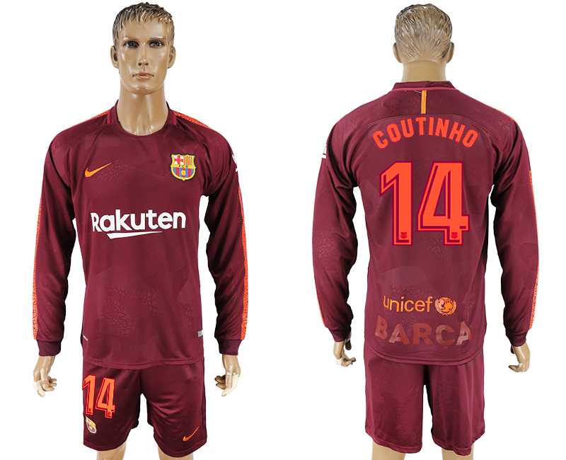 Men 2017-2018 club Barcelona away long sleeve 14 red soccer jersey