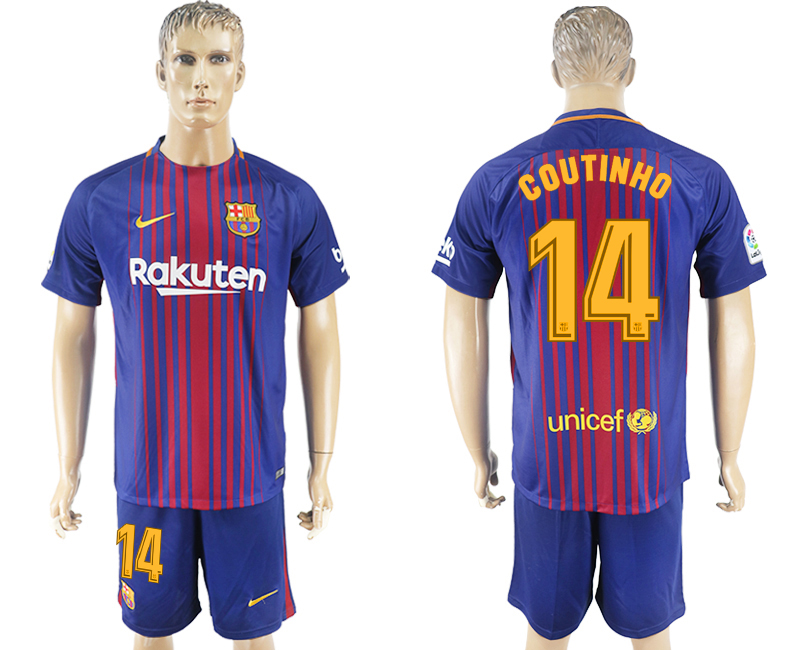 Men 2017-2018 club Barcelona home 14 blue soccer jersey