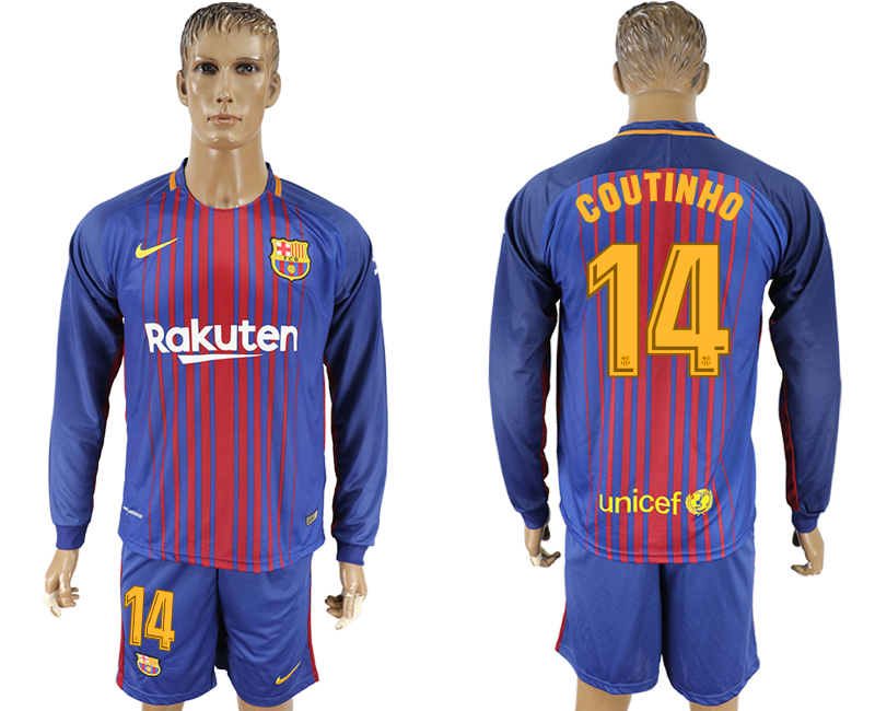 Men 2017-2018 club Barcelona home long sleeve 14 blue soccer jersey