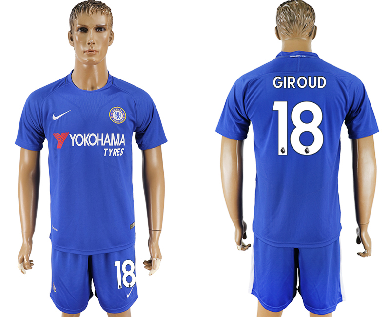 Men 2017-2018 club Chelsea FC home 18 blue soccer jersey