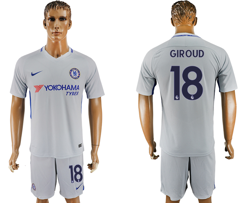 Men 2017-2018 club Chelsea away 18 grey soccer jersey